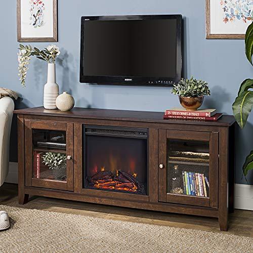 (WE Furniture AZ58FP4DWTB Fireplace TV Stand, Brown)