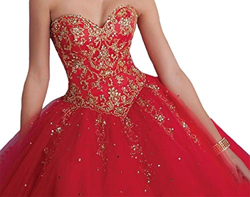 Vnaix Bridals Princess Lace with Tulle Sweet 16 Prom Quinceanera Dress(14,Red) ()