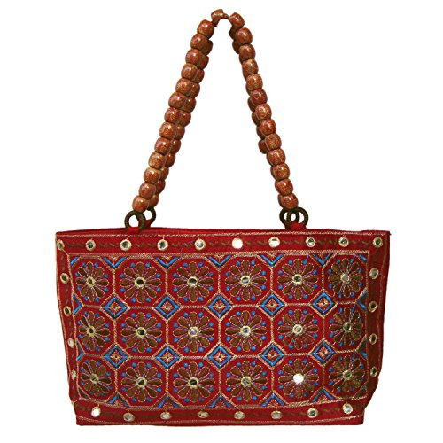 Semi Silk Zari Sequins Floral Embroidered Jaipuri Hand Bag for Party