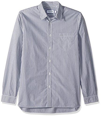Lacoste Men's Long Sleeve Bengal Stripe Poplin Collar Reg Fit Woven Shirt, CH5382, Navy Blue, Medium