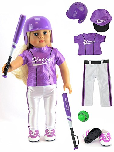Madame American Girl Alexander Doll - Purple Baseball Uniform with Baseball Bat, Helmet, and Shoes | Fits 18