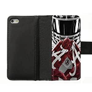Generic Custom Extraordinary Best Design NCAA University of Alabama Crimson Tide Team Logo Diary Leather Case Cover for iPhone5 iPhone5S,With Credit Cards