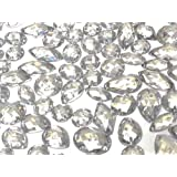 CraftbuddyUS 80 Clear Faceted Acrylic Sew On, Stick on Diamante Crystal Rhinestone Gems