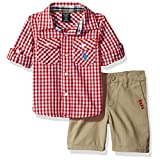 U.S. Polo Assn. Baby Boys' Long Sleeve Gingham Check Woven Shirt and Twill Short, Red Plaid, 12M