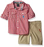 U.S. Polo Assn. Baby Boys' Long Sleeve Gingham Check Woven Shirt and Twill Short, Red Plaid, 18M