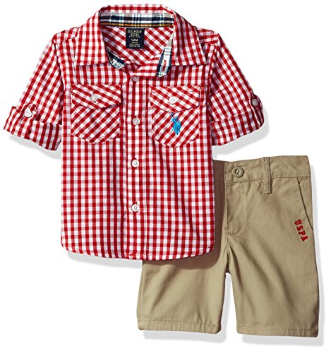 U.S. Polo Assn. Baby Boys' Long Sleeve Gingham Check Woven Shirt and Twill Short, Red Plaid, 18M by U.S. Polo Assn.