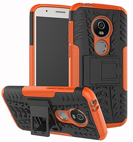 Moto E5 Play Case, Moto E5 Cruise Case, Yiakeng Dual Layer Shockproof Wallet Slim Protective with Kickstand Hard Phone Case Cover for Motorola Moto E5 Play (Orange) (Motorola Motor E Cover)