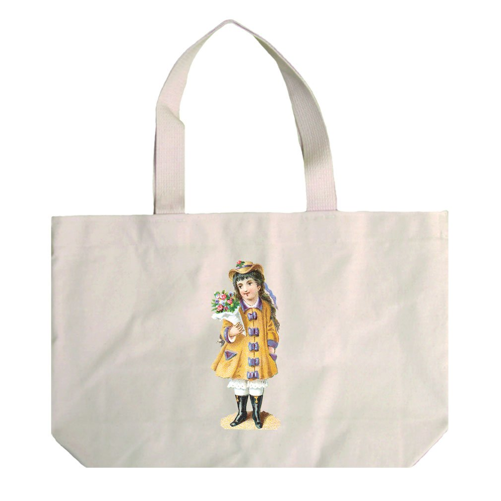 Natural Canvas Beach Tote Girl In Yellow Coat And Flowers By Style In Print by Style in Print (Image #1)