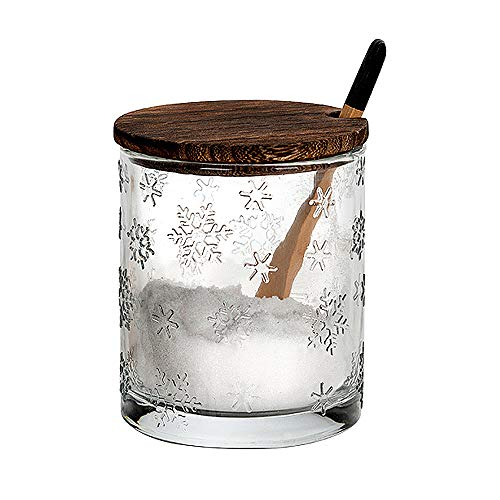 Vencer Snow Relief Glass Sugar Bowl With Lid and Sugar Serving Spoon,410 ML,Sugar Canister, Sugar -