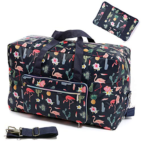 Womens Foldable Travel Duffel Bag 50L Large Cute Floral Travel Bag Weekender Overnight Carry On Bag Checked Luggage Tote Bag For Girls Kids (flamingo D)
