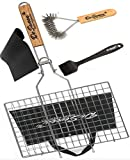 De Seveen BBQ Grilling Basket Set Includes Grill Mat, Grill Brush, Silicone BBQ Basting Brush and Free BBQ Grilling Basket 430 Stainless Steel Removable Wooden Handle