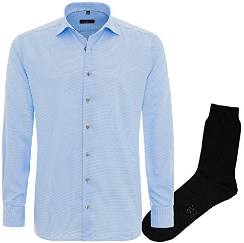 ETERNA Herrenhemd Modern Fit, hellblau, Hahnentritt + 1 Paar hochwertige Socken, Bundle