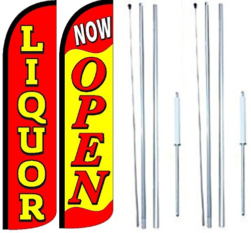 Liquor Now Open King Windless Flag Sign With Complete Hybrid Pole set - Pack of 2 by OnPoint Wares