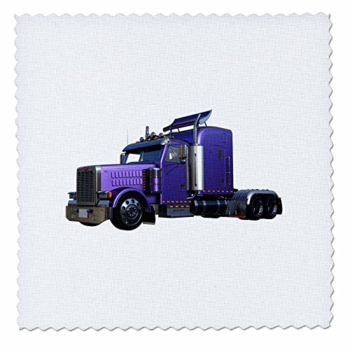 3dRose Boehm Graphics Trucking - Metallic Purple Semi Truck In Three Quarter View - 6x6 inch quilt square (qs_255227_2) (Truck Semi Dimensions)