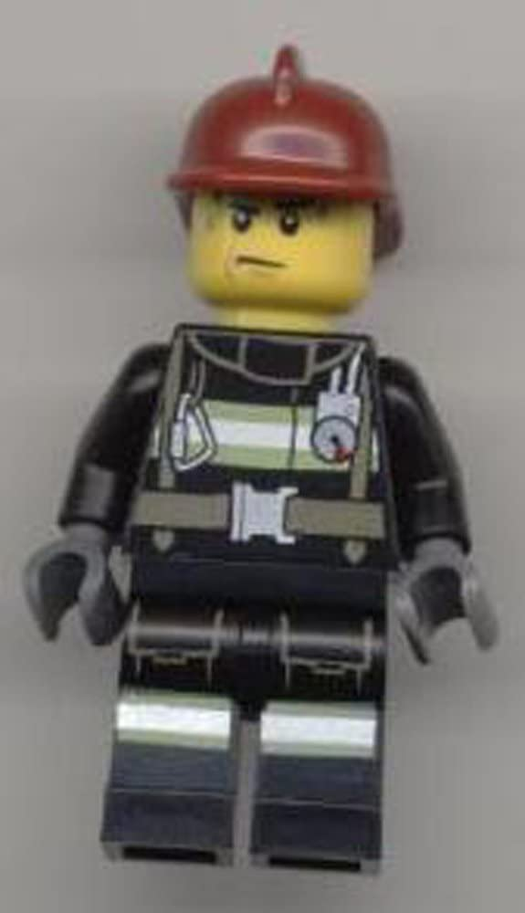 LEGO Minifigure - Fireman - Reflective Stripes with Utility Belt, Dark Red Fire Helmet