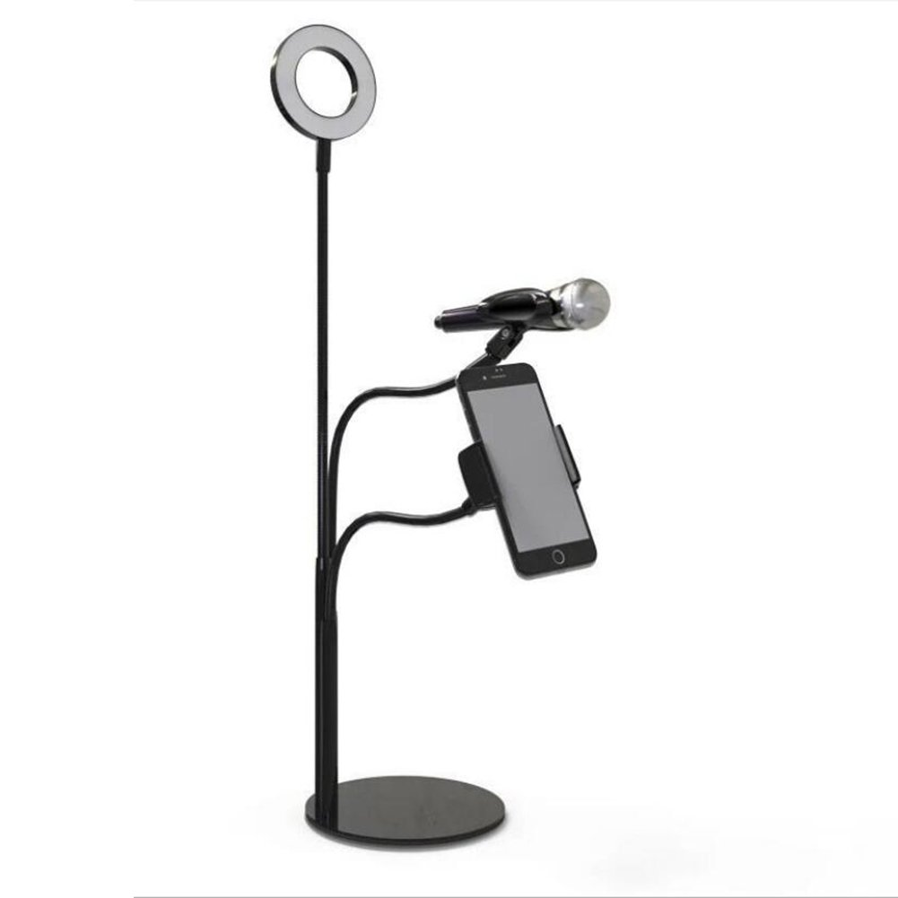 Live Broadcast LED Selfie Ring Light With Cell Phone Holder For Live Stream Video Chat LED 5500K Dimmable 3 Mode 360 Degree Rotating Flexible Arm For Iphone 8/7/6S/6Plus,Samsung,HTC,LG/12W,Black