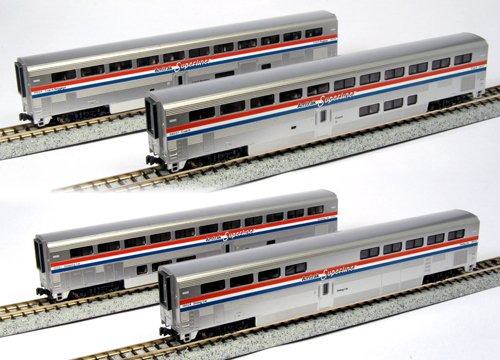 (Kato USA Model Train Products Amtrak Superliner Phase III Car Set A, 4-Piece)