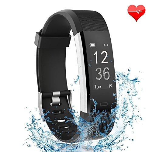 Semaco Fitness Tracker, Heart Rate Monitor Waterproof Activity Health Tracker Wireless Smart Bracelet with Pedometer Sleep Monitor Step Calorie Counter Activity Wristband(Black)