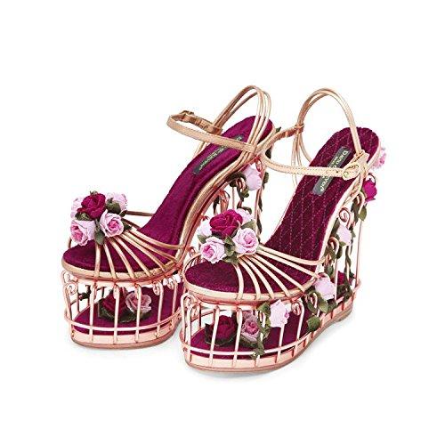 Or Rose Femmes de Haute Art Cage haute talon sandales Rose creux l'eau Jardin metal-heel Sandales