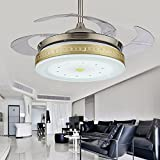 ZPSPZ Ceiling fan Led Modern Simple Living Room Fan Lamp Restaurant Bedroom Remote Control Lamp Ceiling Fan European Style Telescopic Invisible Fan Lamp