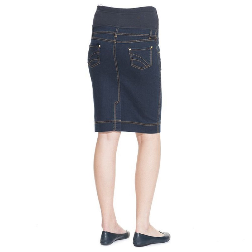 Essentials for Mothers Maternity Pregnant Denim Skirt with Pregnancy Jersey Panel