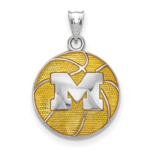 Sterling Silver University of Michigan Enameled Basketball Pendant