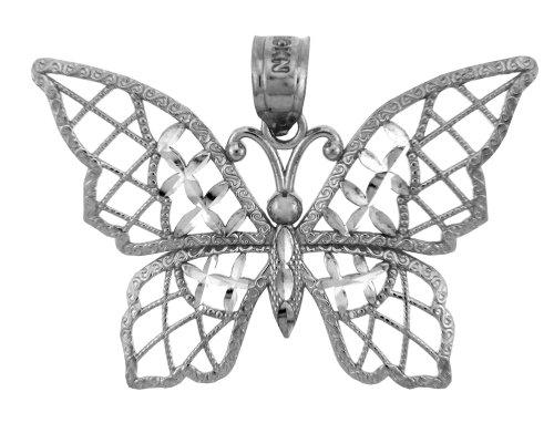 Argent Papillon Papillon-Charme-Pendentif Collier (Livre Avec un 45 cm Chaine)