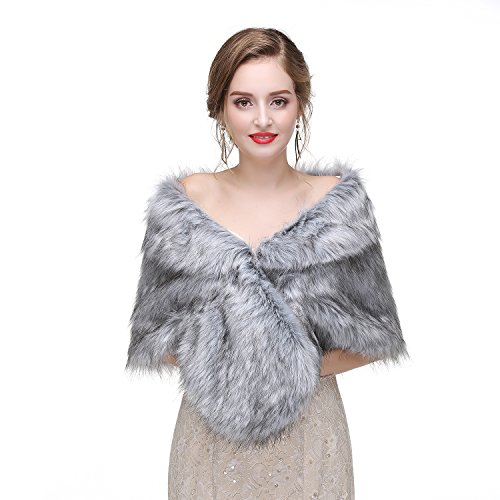 Women's Faux Fur Collar Shawl Faux Fur Scarf Wrap Evening Cape for Winter Coat Raccoon Fur 57