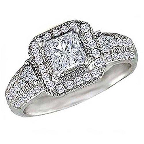 (0.75 Carat (Ctw) 14K White Gold Round & Trilliant Cut Diamond Ladies Semi Mount Engagement Ring (No Center Stone))