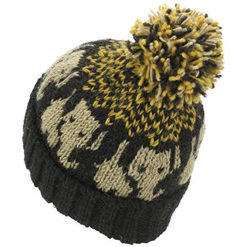 19e2cdad39d2 LOUDelephant Wool Knit Bobble Beanie Hat - Elephant - Blue White:  Amazon.co.uk: Clothing