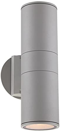 possini euro design ellis silver outdoor up and downlight wall