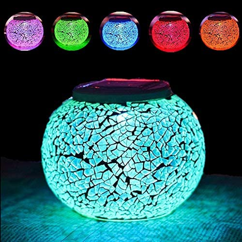 HDNICEZM 1PCS Color Changing Solar Powered Glass Ball Garden Lights, Solar Table Lights Waterproof Solar Led Night Light for Patio Garden Wedding Outdoor Decoration, Ideal Gift Crack Glass