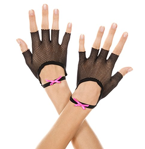 Music Legs Women's Fishnet Fingerless Gloves with Satin Bow Wristband, Black, One Size