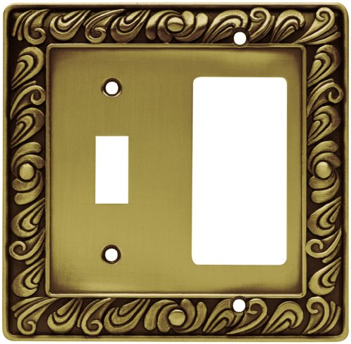 Franklin Brass 64053 Paisley Single Toggle Switch/Decorator Wall Plate / Switch Plate / Cover, Tumbled Antique Brass Brainerd Paisley Single