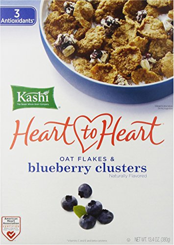 Kashi, Heart to Heart, Oat Flakes & Wild Blueberry Clusters, 13.4 oz (Fiber High Cereal Kashi Cereal)