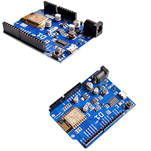 [initeq] 2 Pack D1 WIFI Development Board ESP-12 ESP8266 Arduino UNO Size, with Power Connector Pigtail by initeq (Image #1)