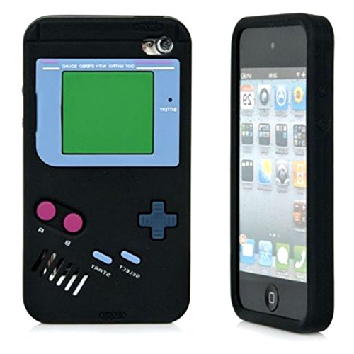 iTitan Fresh Asphalt Black {Classic Game Boy} Soft and Smooth Silicone Cute 3D Fitted Bumper Gel Case for iPod 4 (4G) 4th Generation iTouch by Apple