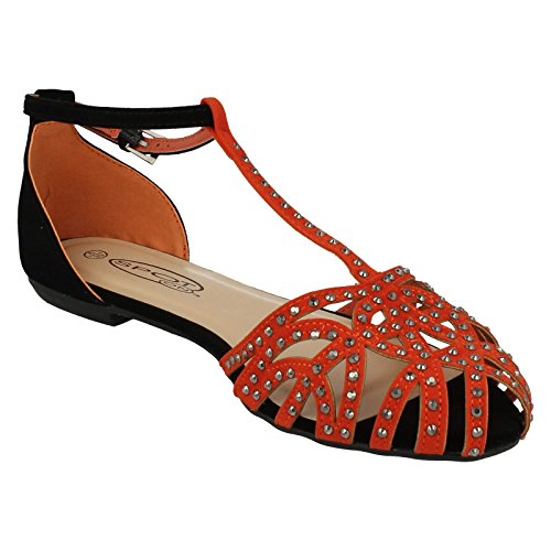 Spot On Ladies Bar Studded Closed Toe Summer Shoes Orange FwkcWLNw2b