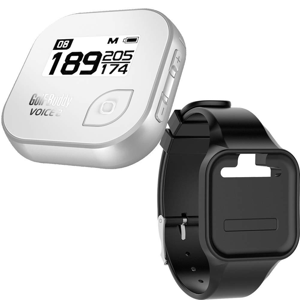 Golf Buddy Bundle Voice 2 Golfbuddy Voice2 Easy-to-Use Talking GPS (White/Silver) + Silicon Wristband (Black)