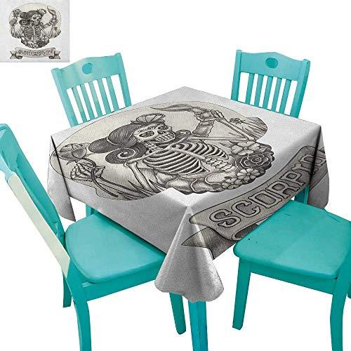 longbuyer Zodiac Scorpio,Patterned Tablecloth,Human Skeleton Sugar Skull Design Dead Woman with Flowers Vintage,70