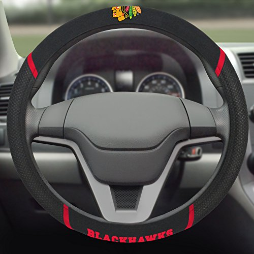 FANMATS  14789  NHL Chicago Blackhawks Polyester Steering Wheel Cover