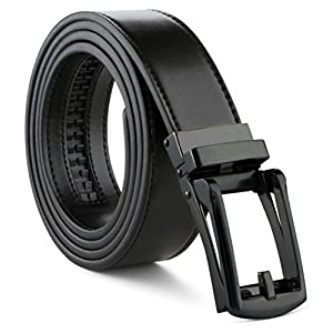 Mens Belt Genuine Leather Ratchet Dress Belt With Automatic Leather Buckle (One Size Fits All (38-56 in Waist), Black strap with Black buckle)