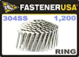 """1 3/4"""" Ring 304 Stainless Coil Roofing Nails 1.2M"""