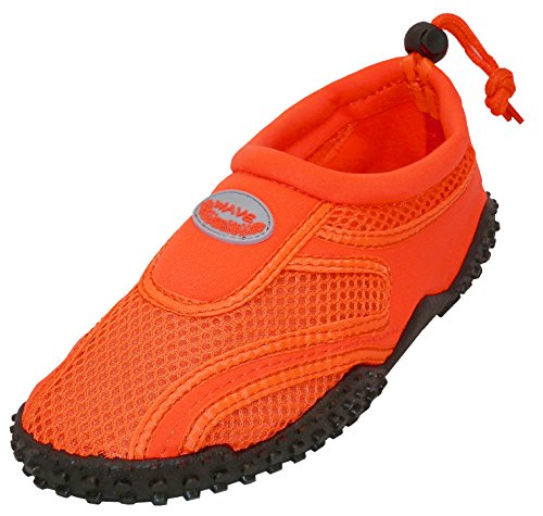 The Wave Aqua Socks Womens Water Shoe, Neon Orange, 9
