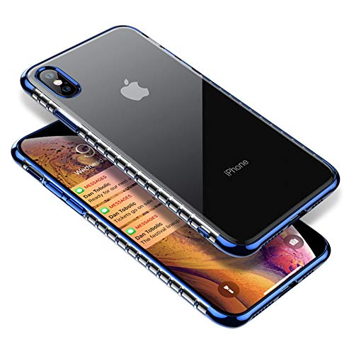 for iPhone Xs Max Clear Case, Slim Thin Silicone Protective Armor for Women Men, Full Body Shockproof Cute Transparent Soft TPU with Plated Bumper Back Case Cover for i-Phone Xs Max 6.5 Inch, Blue