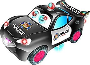 toyze bump and go action police car for kids with moving eyes