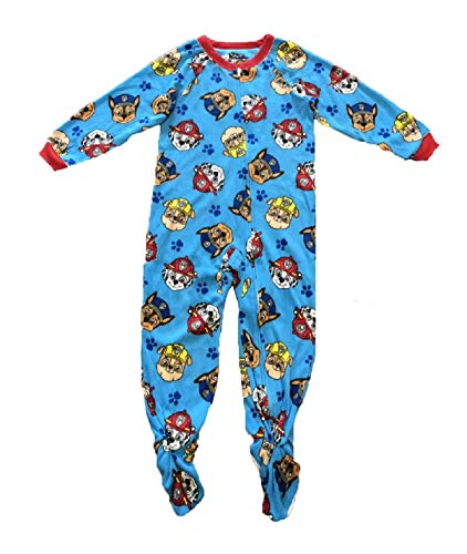 Paw Patrol Fleece Footed Pajamas Footed Blanket Sleeper Toddler Boys (Small Print, 3T)
