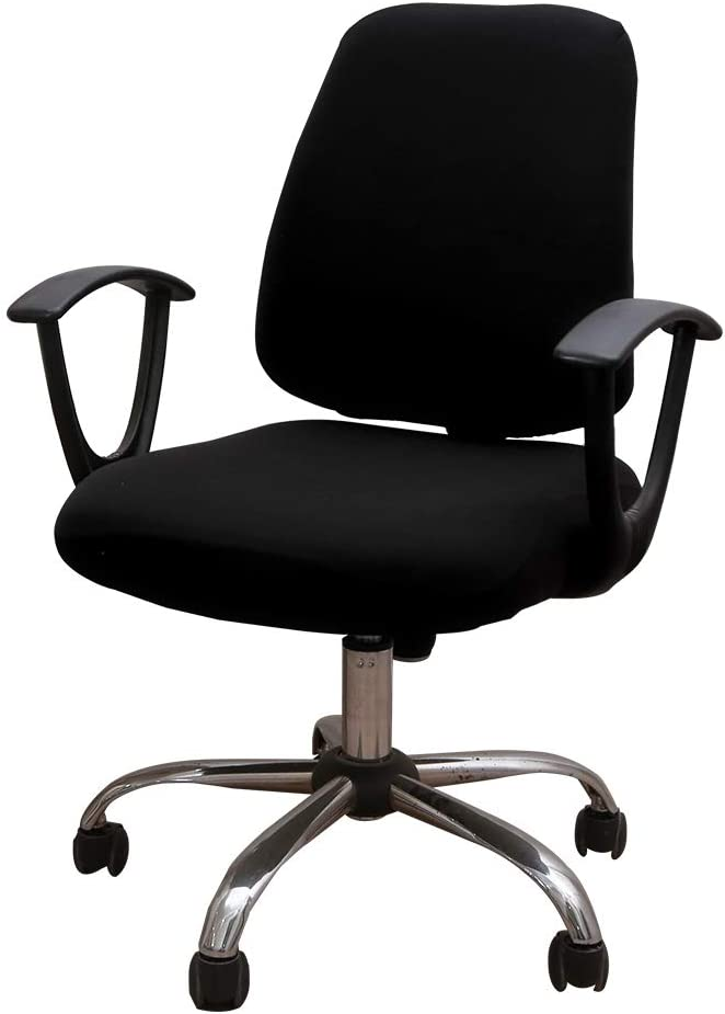 Unimore Office Chair Covers 2 Piece - Decorative Computer Chair Covers Stretch Universal Rotating Chair Slipcover (Black)