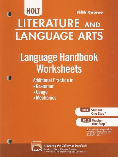 Download Holt Literature and Language Arts: Language Handbook Worksheets Grade 11 ebook
