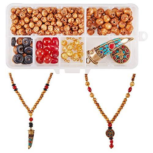 SUNNYCLUE 1 Box DIY 2 Set Nepal National Long Wood Beaded Pendant Necklace Making Kit Meditation Beads/Yoga Sweater Chain Jewelry Craft Kits Wooden Beads Starter Kit Men Women ()